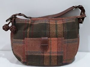 "Merona Gwen Large Hobo Purse poly & wool orange plaid 17x12x5 w/24"" strap NWT"