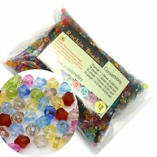 2000 Mixed Acrylic Trasparent Plastic Bi-cone Spacer Beads 6mm Craft Grade