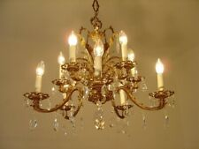 HEART SHAPE CRYSTAL BRASS CHANDELIER LAMP OLD ANTIQUE LUSTRE 12 LIGHT
