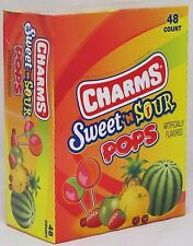 Charms Sweet n Sour Pops 48 Count Box Suckers Candy Lollipops Sweet and Sour