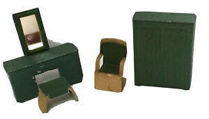 Vintage Jacqualine 4 Piece Doll House Metal Furniture for the Bedroom in Green