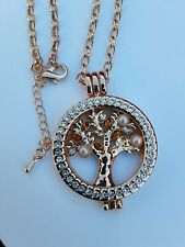 Tree of life necklace COIN DISK INTERCHANGING rose gold crystal pearl 381