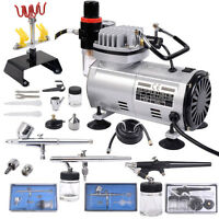New 3 Airbrush & Compressor Kit Dual-Action Spray Air Brush Set Tattoo Nail Art