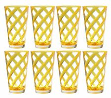 Set of 8 Helix Acrylic Plastic Tea Cup Drinking Glass Tumbler Neon Yellow 22 oz
