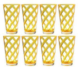 Set of 8 Helix Acrylic Plastic Tea Cup Drinking Glass Tumbler Neon Yellow 22 oz