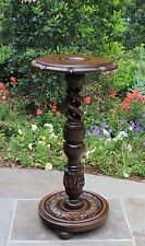 Antique English Carved Oak OPEN Barley Twist Pedestal Table Plant Stand  24 3/4""