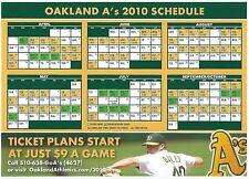 "2010 Oakland Athletics A's 5"" X 7"" Game Schedule - SGA - Andrew Bailey"