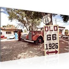 Bild Bilder Wandbild XXL Vintage Car Route  - Kunstdruck Leinwand aus Vlies Deko