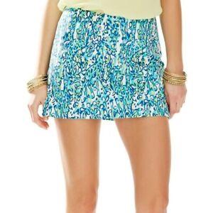 Lilly Pulitzer Ella Sea Blue Its A Stretch Animal Print Short Skort Skirt 0 2