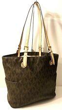 Michael Kors MK Carryall Brown Tan Leather Trim Tote Office Shoulder Bag Purse
