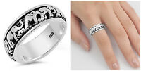 Sterling Silver 925 LADIES MENS SPINNER WALKING ELEPHANT RING 7MM SIZES 4-14