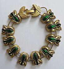 Vintage Art Deco Green Enamel Frog Slide Slider Charm Bracelet. RARE!
