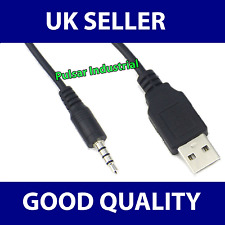 NEW USB to 3.5 mm Audio Jack Black 68cm Cable Lead for iPod Shuffle iPhone UK