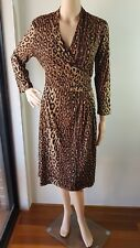DIANA FERARI Ladies Animal Print 3/4 Sleeve Knee Length Wrap Dress Size: M EC