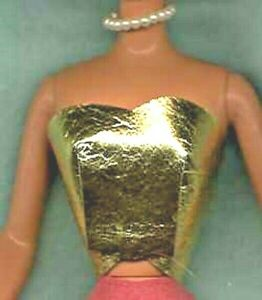 BARBIE GOLD STRAPLESS TOP HANDMADE SHINY METALLIC GENUINE LEATHER CLOTHES