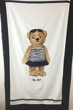 Polo Ralph Lauren Navy blue white swimsuit girl bear large Beach Pool Towel New