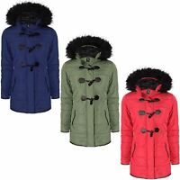 WOMENS LADIES PARKA JACKET FUR HOODED TOGGLE PADDED QUILTED DUFFLE ZIP UP COAT