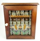 Vintage Wood Spice Box Wall Cupboard w/Stained Glass Door & Jars Pantry Cabinet