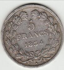 RARE TTB 5 FRANCS LOUIS PHILIPPE TETE LAUREE 1833 B