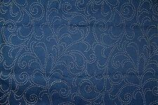"Fabric Remnant Stretch Denim Navy with Silver Floral Dots 1 3/4 yds x 52"" wide"