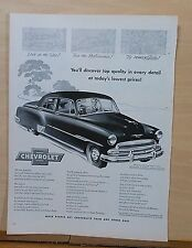 1951 magazine ad for Chevrolet - Styleline De Luxe Sedan, Top Quality in Detail