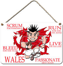 WELSH Wales Hanging Rugby Wall Plaque. Aluminium sign. PASSIONATE about rugby