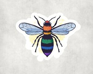 2 x Pride Bee Rainbow Animal Sticker Car Bike Laptop Indoor Decals