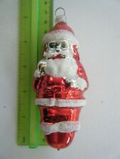 "Italian Hand Blown Ornament ""Santa w/Present Bag"" Rare & Vintage"
