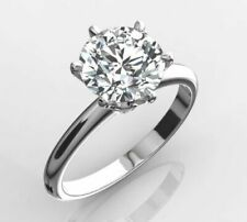5.00 Carat Round Cut F SI1 Lab Diamond Solitaire Engagement Ring 18k White Gold