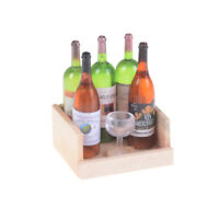 1Set Wine Juice Bottles With Cup Wood Rack 1:12 Dollhouse Miniature Decoration