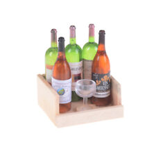 1Set Wine Juice Bottles With Cup Wood Rack 1:12 Dollhouse Miniature DecorationTC