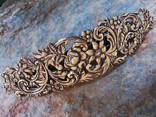 Large Antiqued Gold Brass for Thick Hair Barrette 4 5/8 Wide Made in USA 6012