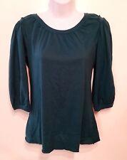 BCBG MAXAZRIA womens green peasant blouse 3/4 sleeve shirt, top Sz S,
