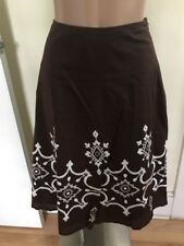 Peck & Peck Womens Size 6 Brown Cotton Embroidered Skirt