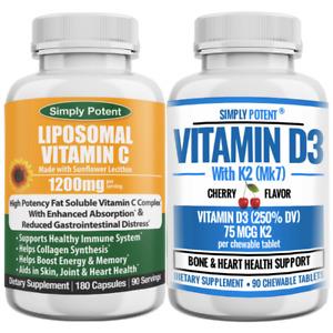Liposomal Vitamin C 1200 + Vitamin D3 K2 For Immunity, Skin, Joint & Bone Health