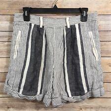 Anthropologie Koto Bolofo High Waist Linen Shorts 4 White Blue Striped Side Zip