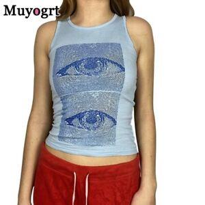 Eyes Printed Tank Tops y2k Harajuku Corset Tops Vintage Fashion Streetwear