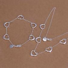 Fashion 925 Silver plated Heart Bracelet Necklace Jewelry Sets S186