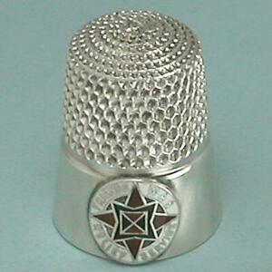 Rare Antique Sterling Silver & Enamel FRIENDS WAR RELIEF SERVICE Thimble *C1900s