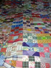 VINTAGE 1940-50 HANDMADE 9 PATCH DESIGN QUILT TOP ASSORTED COLOR & PRINTS 88X94