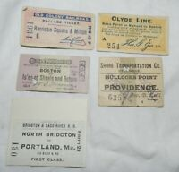 Lot of 5 Vintage Railroad Train Tickets mostly from 1800's, Clyde Line, Shore Tr