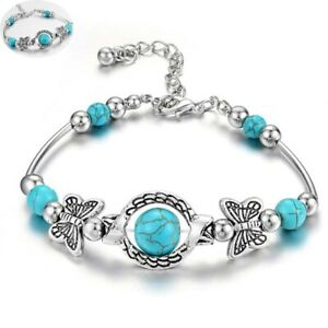 Boho Jewelry Silver Turquoise Bangle Cuff Bracelet Tibetan Green Women 925 Gift