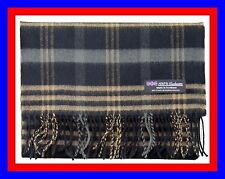 100% Cashmere Scarf Black Camel Check Plaid Scottish Tartan Wool Infinity Z313