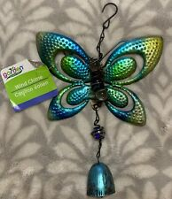 Metal Glass Butterfly Windchime - Green/blue - New w/tag