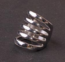 Alla Moda Elegante Tono Argento 5-rings-in-one Anello Metallico Venditore UK Seller (cl24tray)