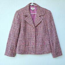 Talbots Tweed Blazer Pink Size 10 Wool Blend Women Three Button Workwear Stretch