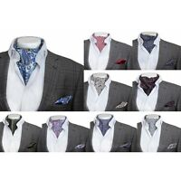 Mens Casual Retro Paisley Cotton Cravat & Handkerchief Wedding Vintage Ascot