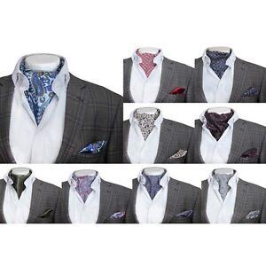 Mens Casual Retro Paisley Cotton Cravat & Handkerchief Wedding Vintage Ascot