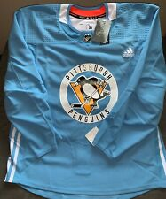 Pittsburgh Penguins Authentic Adidas Made in Canada MiC blue practice jersey NWT