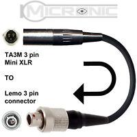 TA3M / TA3F 3 PIN MINI XLR MICROPHONE ADAPTER TO SENNHEISER LEMO 3 PIN CONNECTOR